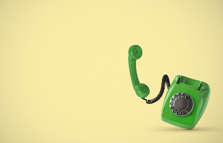 Vintage phone on yellow background 写真素材 - 118907981