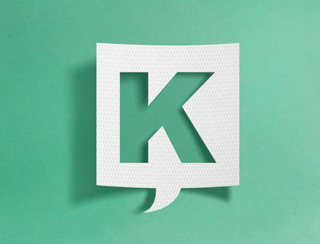 Speech bubble with letter K