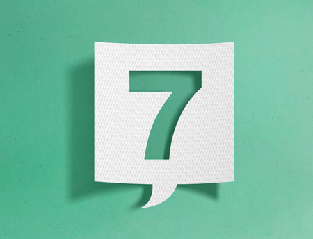 Speech bubble with number 7