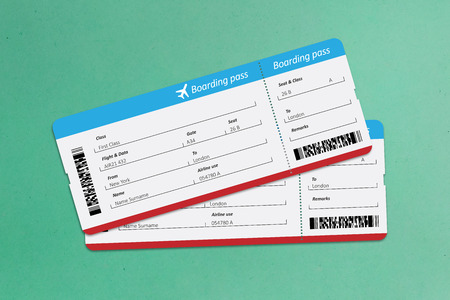 Boarding passes on green