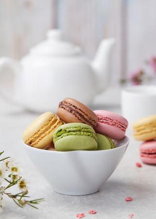 Macaroons and tea 스톡 콘텐츠