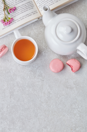Black tea and macaroons