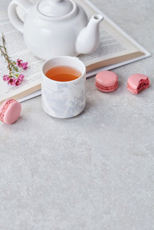 Breakfast with tea and macaroons 스톡 콘텐츠