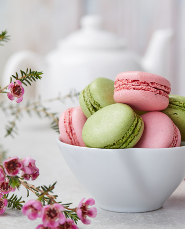 Pink and green macaroons