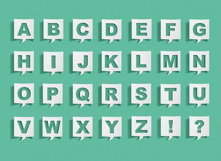 Speech bubble with alphabet letters
