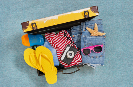 Beach ready suitcase from above