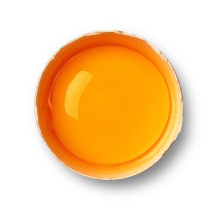 Brown eggs yolk isolated on white 스톡 콘텐츠