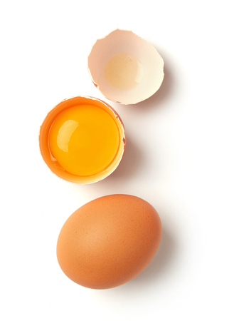 Farm eggs isolated on white