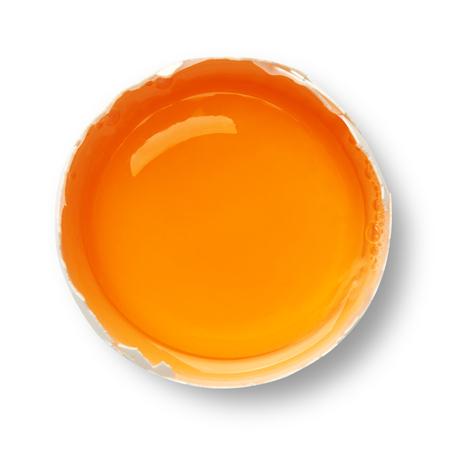 White egg yolk isolated on white 스톡 콘텐츠