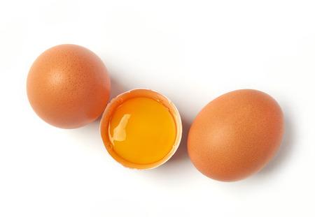 Farm fresh eggs on white