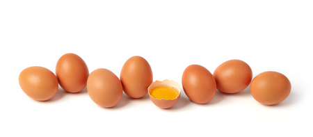 Brown eggs isolated on white 스톡 콘텐츠