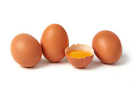 Group of eggs on white