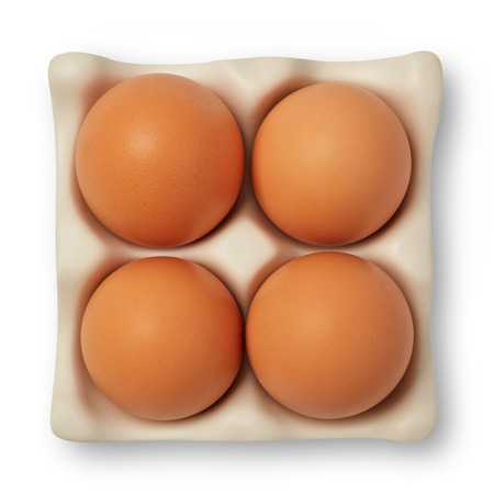 Group of brown eggs isolated on white 스톡 콘텐츠