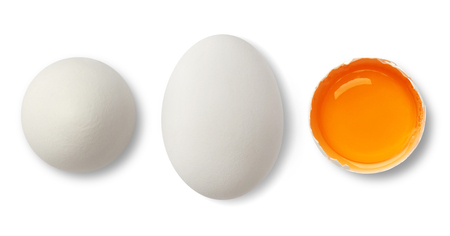 White egg and yolk on white