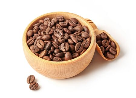 Roasted coffee beans in a bowl 版權商用圖片