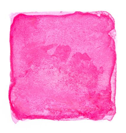 Watercolor pink square isolated on white