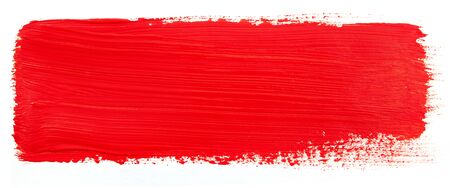 Watercolor red stroke isolated on white Imagens