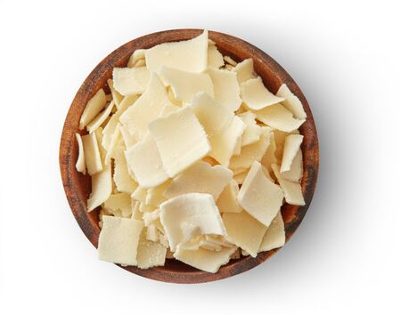 Parmesan cheese flakes in a bowl Imagens