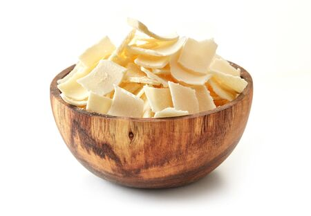 Bowl of parmesan cheese flakes