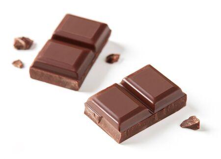 Milk chocolate bars on white