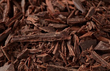 Chocolate shavings close-up detail background