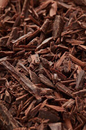 Brown chocolate shavings closeup detail