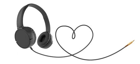 Headphones with hearth shaped cable on white