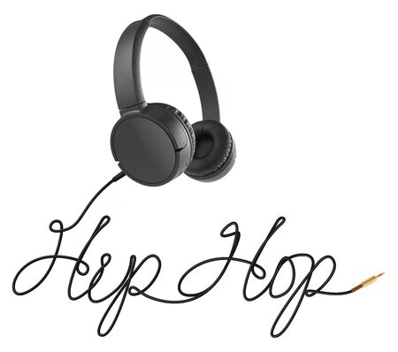 Headphones with hip hop cable on white