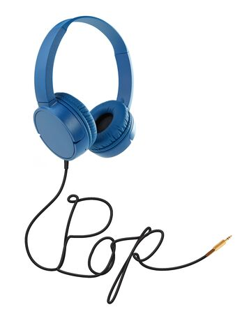 Headphones with pop cable on white Standard-Bild