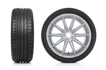 Front and side car wheel view Stockfoto
