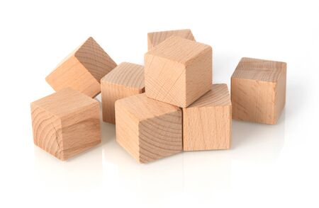 Wooden blocks on white background