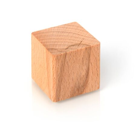 Wooden cube on white background Reklamní fotografie