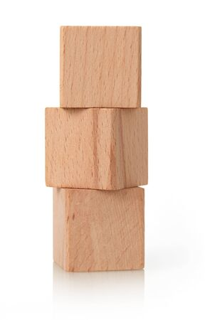 Wooden cubes stack on white