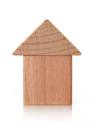 House shaped wooden cubes on white