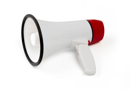 Red and white megaphone on white