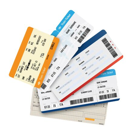 Different tickets on white background