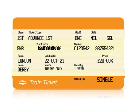 Train ticket on white background Banque d'images