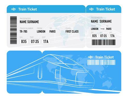 Train ticket on white background