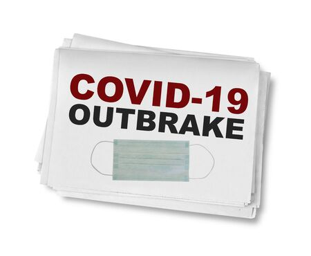 Covid-19 outbreak headline in the newspaper