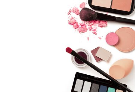 Cosmetics variety on white background