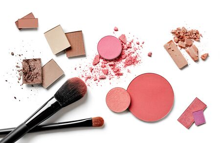 Cosmetics variety on white background