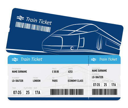 Train tickets on white background