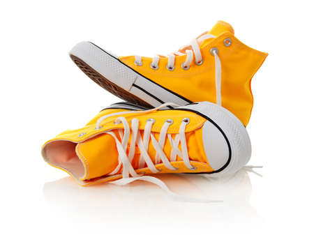Canvas shoes on white background