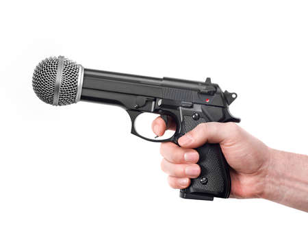 Microphone as a weapon on white