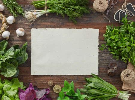 Blank paper and herbs 版權商用圖片