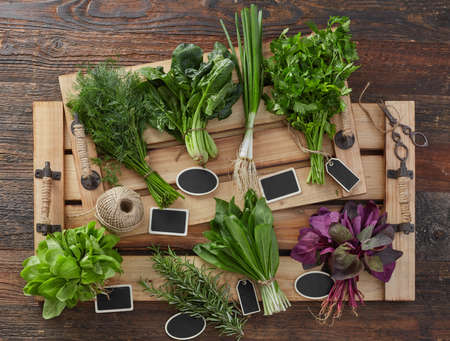 Natural aromatic herbs with tags