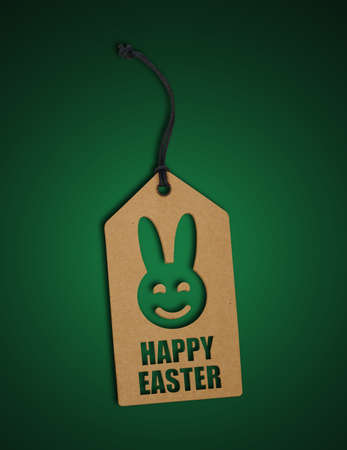 Happy easter tag on green 免版税图像