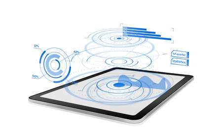 Futuristic diagrams and chart projections on a digital tablet 免版税图像
