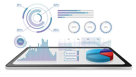 Business growth data projected on a digital tablet