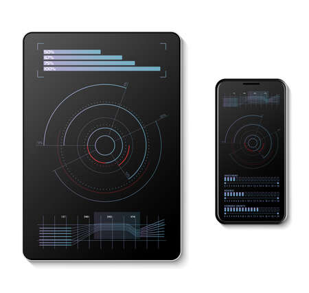 Futuristic infographic on a digital tablet and mobile phone